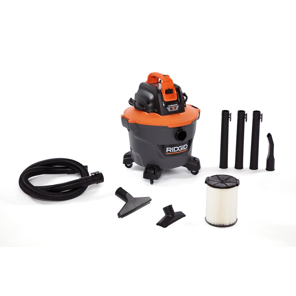 RIDGID 18-Volt 9 Gal. Cordless Wet/Dry Shop Vacuum (Tool Only) with Car Nozzle, Utility Nozzle, Wet Nozzle and Extension Wands