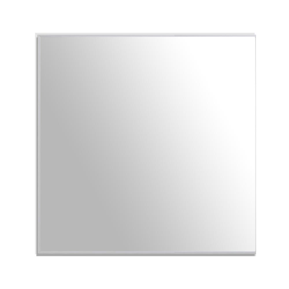 Sax 30 in. W x 30 in. H Framed Rectangular Bathroom Vanity Mirror in Brushed Silver