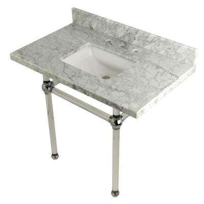 Square-Sink Washstand 36 in. Console Table in Carrara Marble with Acrylic Legs in Polished Chrome