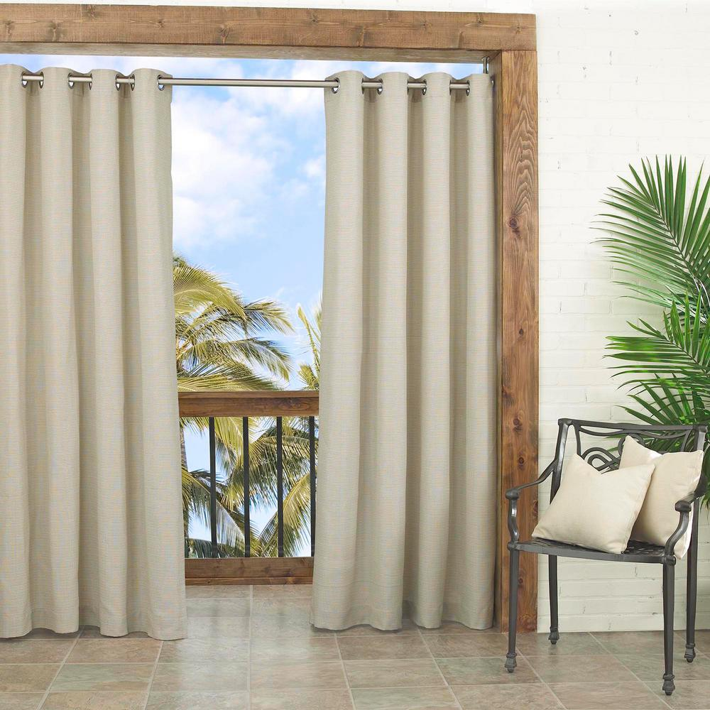 Parasol Key Largo Indoor/Outdoor Window Curtain Panel in Oatmeal - 52 in. W x 108 in. L