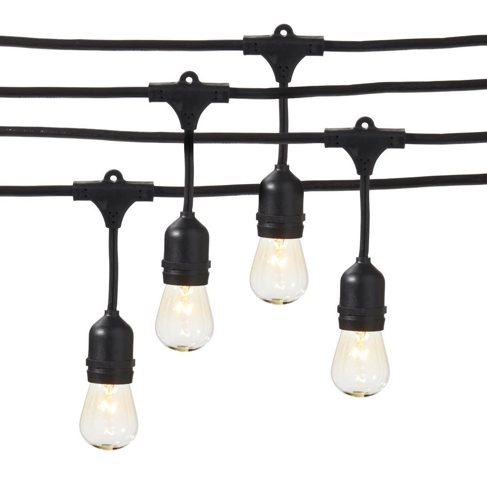 Newhouse Lighting 48 Foot Outdoor String Lights Led Bulbs: Hampton Bay HB 24-Socket 48 Ft. Incandescent String Light