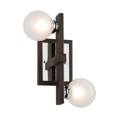 Network 2-Light Forest Bronze and Polished Chrome Wall Sconce with Frosted Clear Glass Ball Shade
