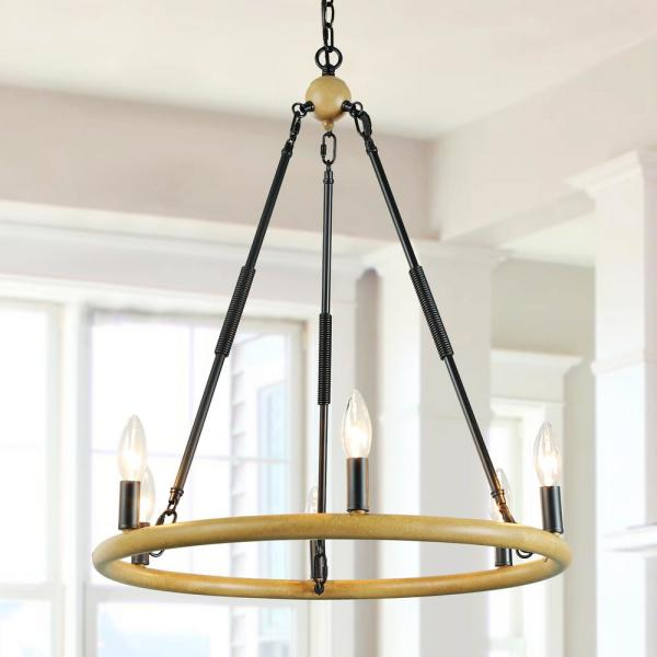 6-Light 27 in. Black Modern Farmhouse Circle  Candle Style  Island Chandelier with Wagon Wheel and Wood Accents