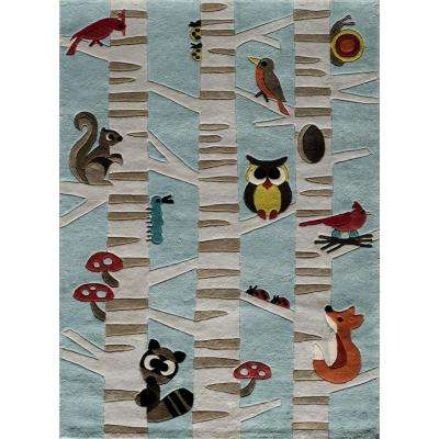 Lil Mo Whimsy Forest Critters Light Blue 5 ft. x 7 ft. Indoor Kids Area Rug