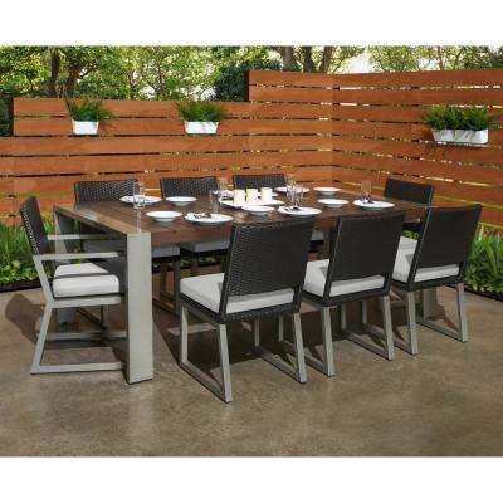 Milo Espresso 9-Piece Wicker Outdoor Dining Set with Sunbrella Moroccan Cream Cushions