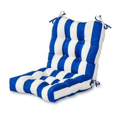Cabana Stripe Blue Outdoor Dining Chair Cushion