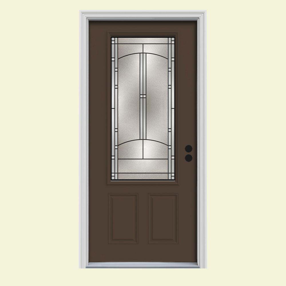 34 in. x 80 in. 3/4 Lite Idlewild Dark Chocolate Painted