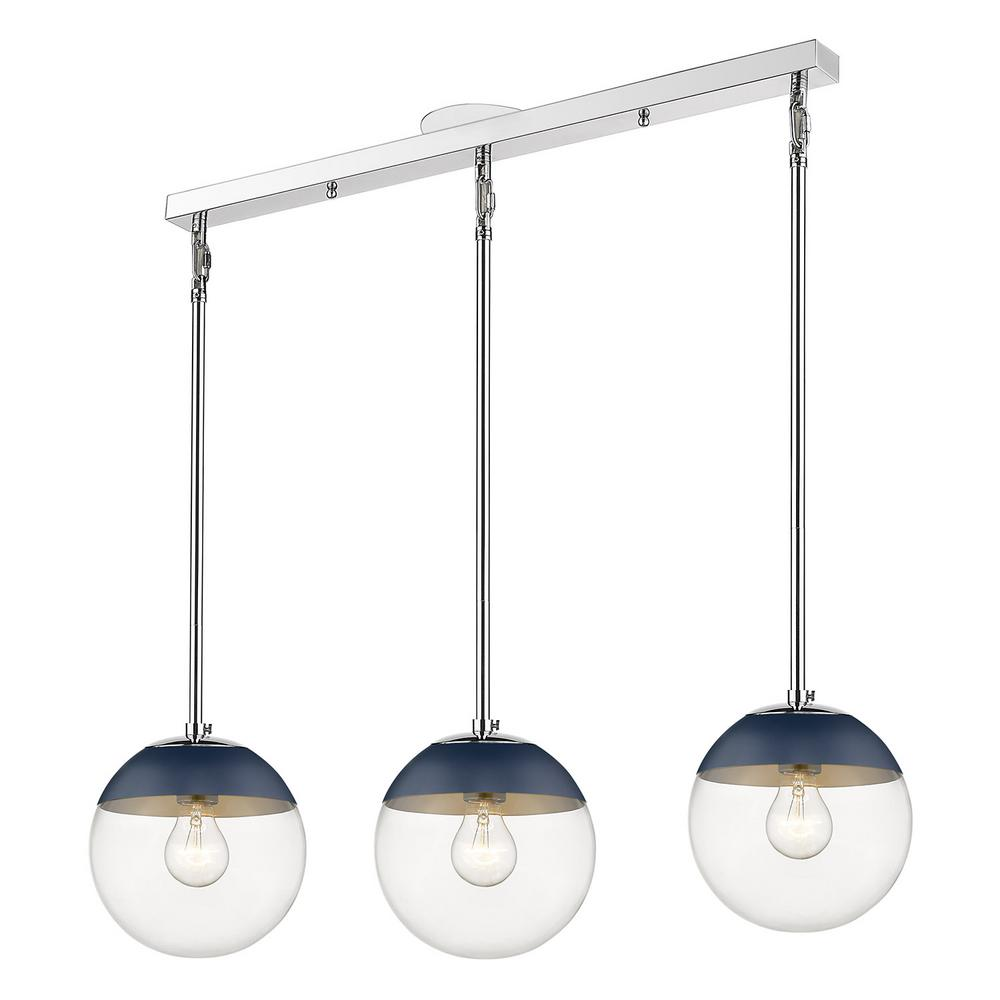 Golden Lighting Dixon Linear Pendant in Chrome with Clear Glass and Navy Cap