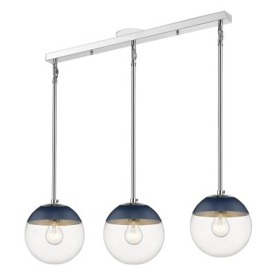 Dixon Linear Pendant in Chrome with Clear Glass and Navy Cap