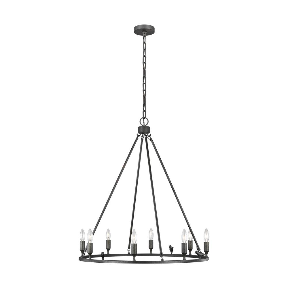 Generation Lighting Designer Collections ED Ellen DeGeneres Crafted by Generation Lighting Caroline 30 in. 8-Light Aged Iron Chandelier with Cast Metal Birds