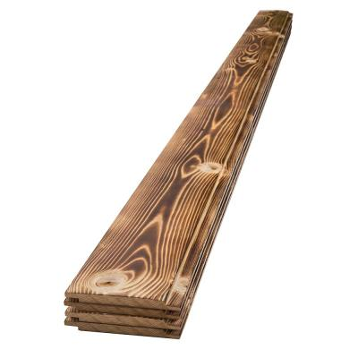 1 in. x 6 in. x 8 ft. Charred Wood Shiplap Pine Board (4-Pack)