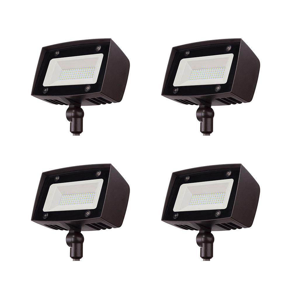 350-Watt Equivalent Bronze Outdoor Integrated LED Flood Light, 5000 Lumens, Dusk to Dawn Light (4-pack)