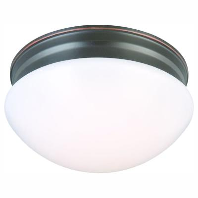 9 in. 60-Watt Equivalent Oil-Rubbed Bronze Integrated LED Mushroom Flush Mount with White Acrylic Shade