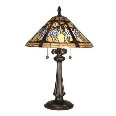 26 in. Floral Branch Art Glass Table Lamp