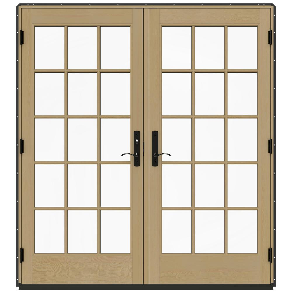 Jeld wen 72 in x 80 in w 4500 chestnut bronze prehung for Home depot prehung french doors