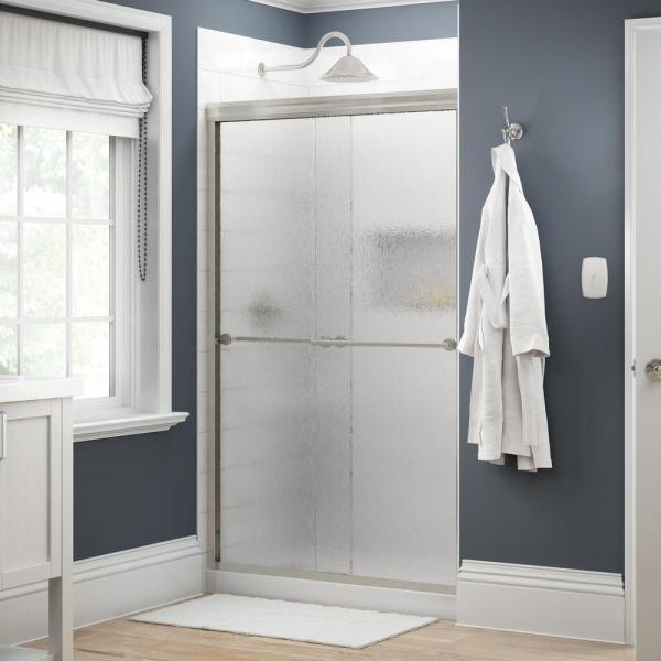 Everly 48 in. x 70 in. Traditional Semi-Frameless Sliding Shower Door in Nickel and 1/4 in. (6mm) Rain Glass