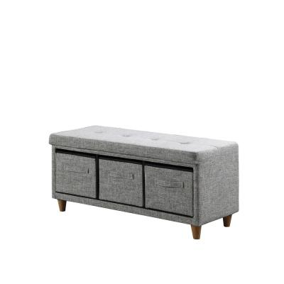 17.5 in. Appleby Slate gray Tufted Bench with Storage Basket Drawers