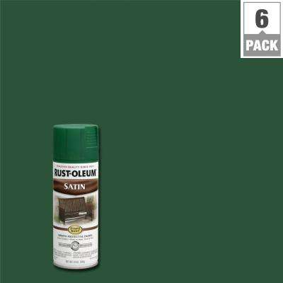 12 oz. Protective Enamel Satin Hunter Green Spray Paint (6-Pack)