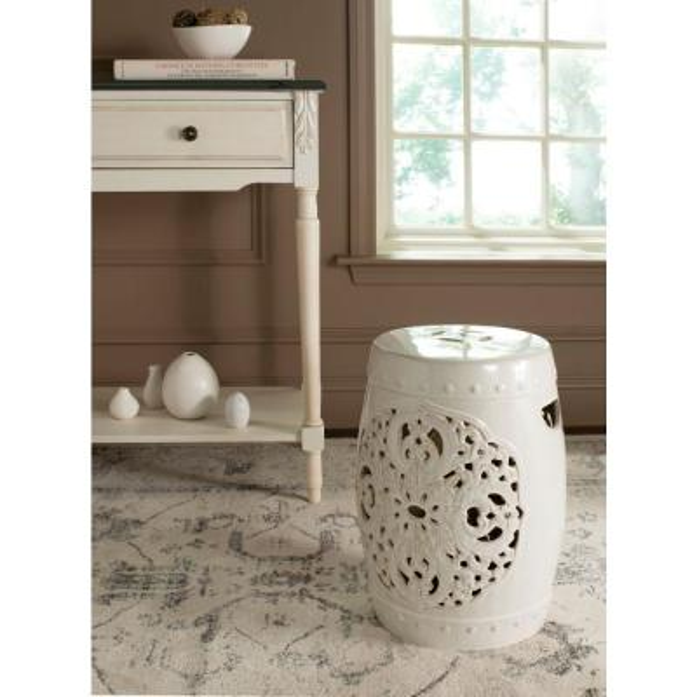 Flora Creme Ceramic Garden Stool