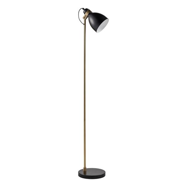 Quincy Floor Lamp with Black Marble Base - Black/ Antique Brass