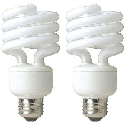 60-Watt Equivalent Daylight Spiral Non Dimmable CFL Light Bulb (2-Pack)