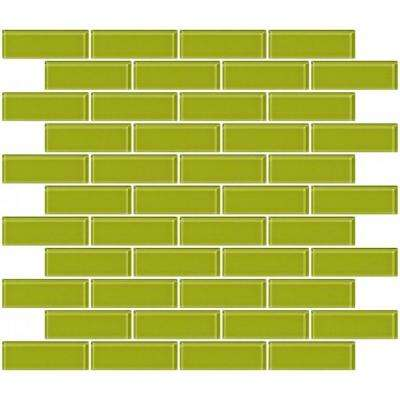 12 in. x 12 in. x 4 mm Tile'ESQUE Lime Green Glass Subway Mesh-Mounted Mosaic Tile