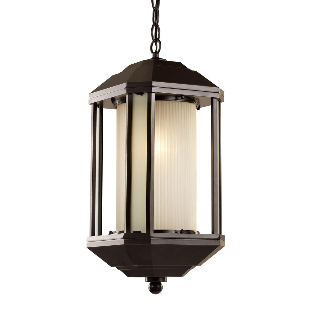 Bel Air Lighting 1-Light Outdoor Rubbed Oil Bronze Hanging Lantern With  Ribbed Glass