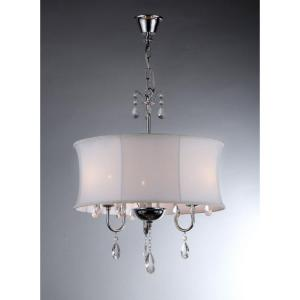 Warehouse of Tiffany Melissa 3-Light Chrome Crystal Chandelier with Fabric Shade by Warehouse of Tiffany
