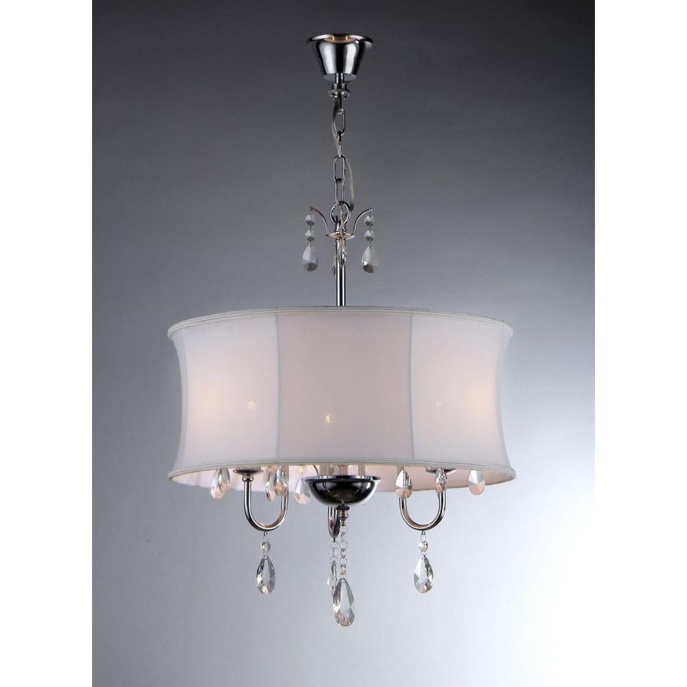 Melissa 3-Light Chrome Crystal Chandelier with Fabric Shade