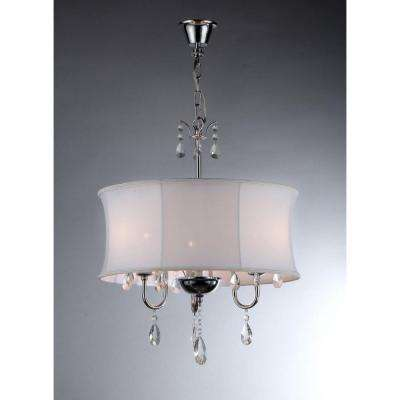 Melissa 3-Light Chrome Crystal Chandelier with Fabric Shade