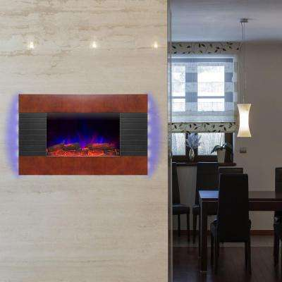 36 in. Wall Mount Electric Fireplace Heater in Wooden Brown with Tempered Glass, Pebbles, Logs and Remote Control