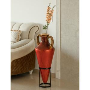 Roman Style 35 in. Tall Red and Gold Large Pointed Amphora Floor Vase on Metal Tripod Stand