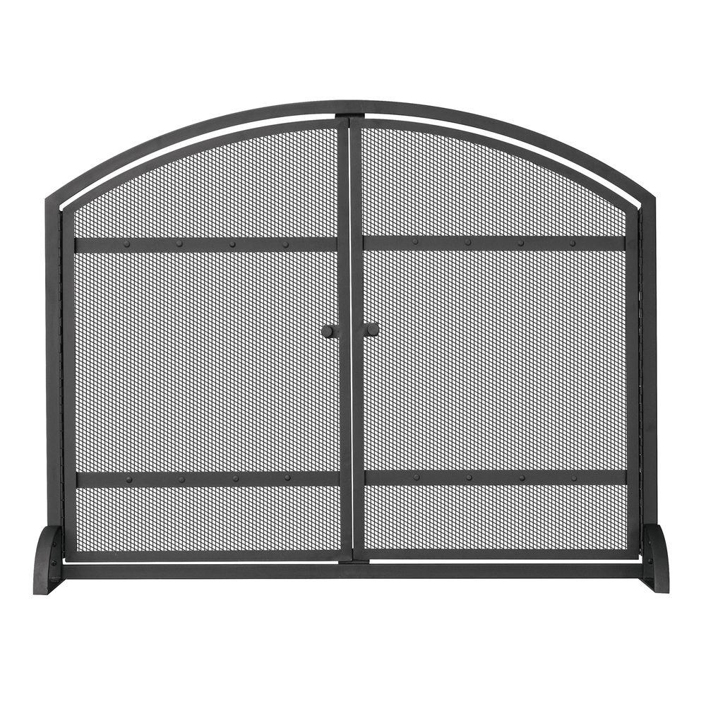 UniFlame 1 Panel Arch Top Black Wrought Iron Fireplace Screen With Doors