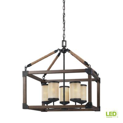 Dunning 22 in. W. 5-Light Weathered Gray and Distressed Oak Single Tier Chandelier with LED Bulbs