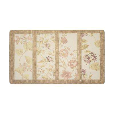 Flower Seeds Coral 20 in. x 32 in. PVC Anti-Fatigue Comfort Kitchen Mat