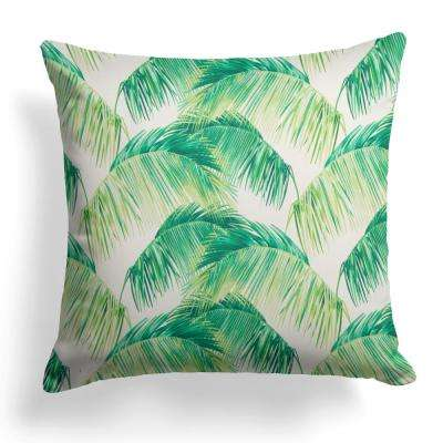 Tahitian Green Square Outdoor Throw Pillow