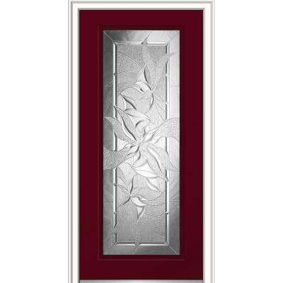 36 in. x 80 in. Impressions Right-Hand Inswing Full Lite Decorative Glass Painted Steel Prehung Front Door