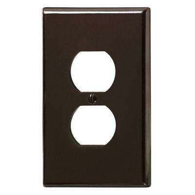 1-Gang Large and Jumbo Size Plastic Wall Plate and 1-Duplex Receptacle in Brown