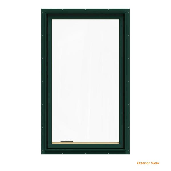 Jeld Wen 28 75 In X 48 75 In W 2500 Series Green Painted Clad Wood Left Handed Casement Window With Bettervue Mesh Screen Thdjw140100082 The Home Depot