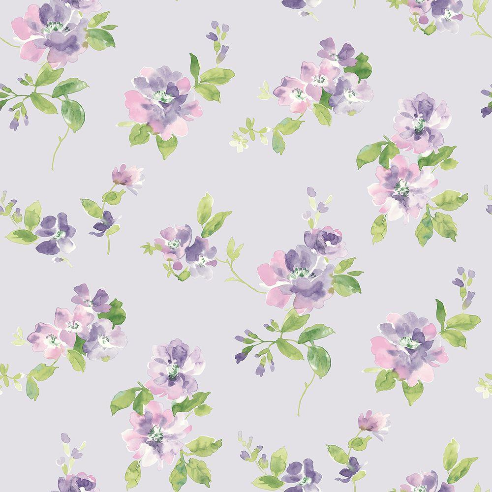 Captiva Lavender Floral Toss Wallpaper Sample