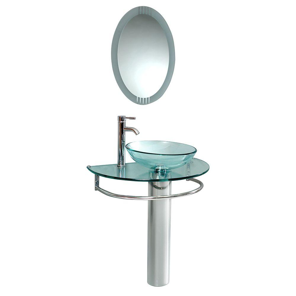 Fresca Attrazione Vessel Sink In Frosted Glass With Stand In Chrome And  Frosted Edge Mirror
