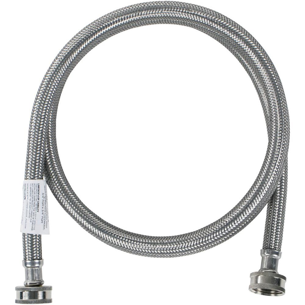 CERTIFIED APPLIANCE ACCESSORIES 5 ft. Braided Stainless Steel Washing Machine Hose, Silver For years, licensed plumbers, electricians and appliance installers have relied on CERTIFIED APPLIANCE ACCESSORIES for their power cords, hoses and connectors. Now you can too. Enjoy the convenience offered by this washing machine hose with elbow from CERTIFIED APPLIANCE ACCESSORIES. Its flexibility and durability ensure a reliable connection for your next home installation project. This high-quality washing machine hose has been thoroughly tested and is backed by a 5-year limited warranty. Always consult your appliances installation instructions. Check your appliance's manual for the correct specifications to ensure this is the right hose for you. Thank you for choosing CERTIFIED APPLIANCE ACCESSORIES Your Appliance Connection Solution. Color: Silver.