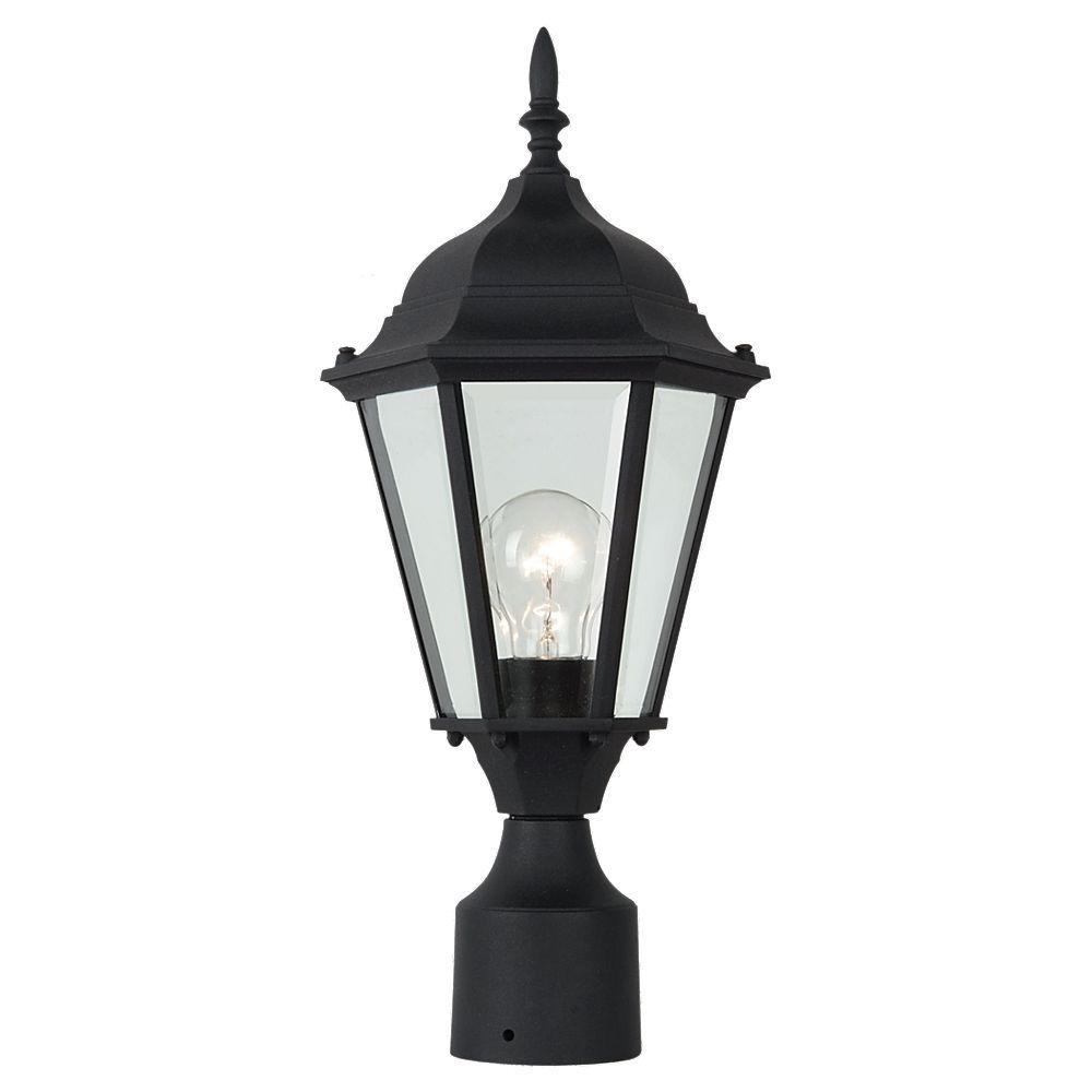 Sea Gull Lighting Bakersville 1-Light Black Outdoor Post Top