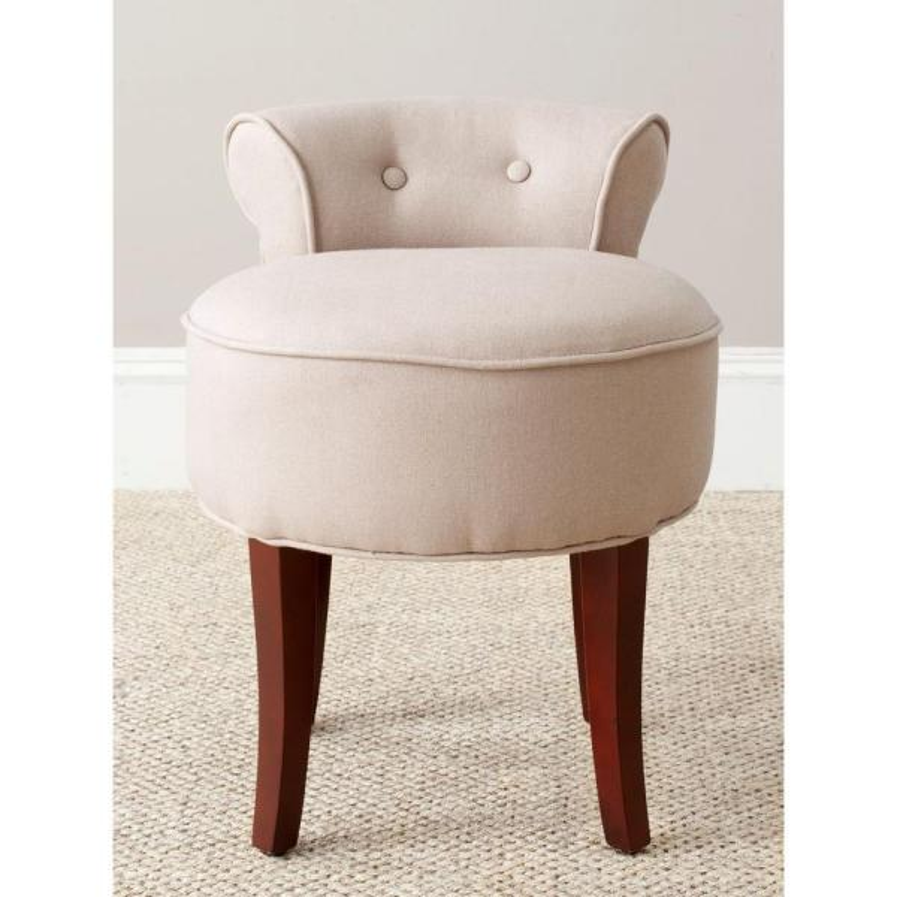 Excellent Safavieh Georgia Taupe Linen Vanity Stool Mcr4546A The Machost Co Dining Chair Design Ideas Machostcouk