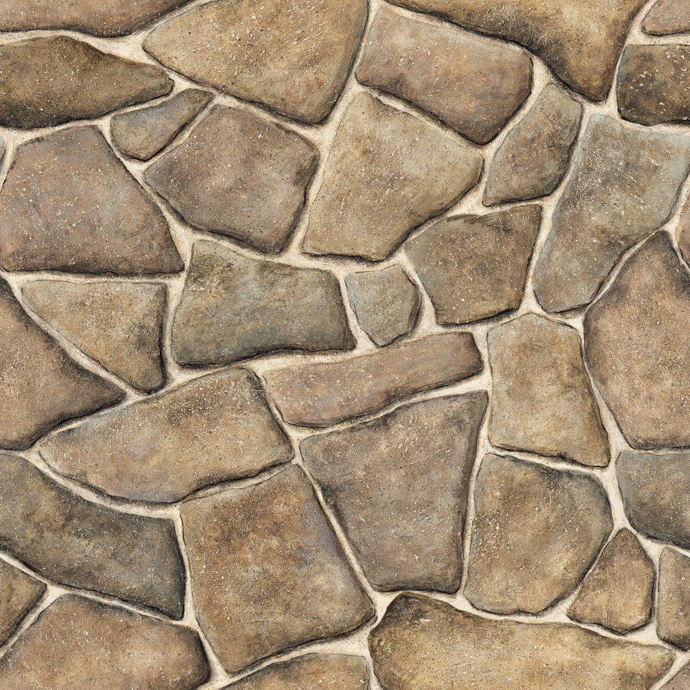 The Wallpaper Company 56 sq. ft. Brown Faux Stone Wallpaper