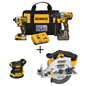 20-Volt MAX Cordless Brushless Combo Kit (2-Tool) with Bonus 5 in. Sander and 6-1/2 in. Circular Saw (Tools-Only)