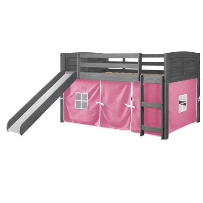 Antique Grey Twin Louver Low Loft Bed with Slide and Pink Tent Kit
