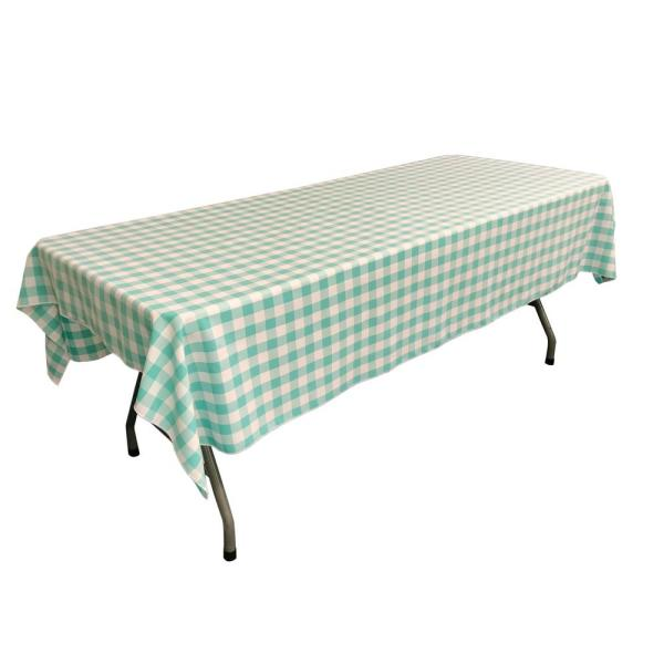 LA Linen 60 in. x 102 in. White and Mint Polyester