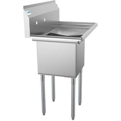Freestanding Stainless Steel 33 in. 2-Hole Single Bowl Commercial Kitchen Sink