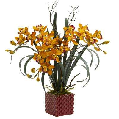 Indoor 29 in. Cymbidium Orchid Artificial Arrangement in Red Vase
